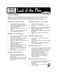 chapter questions lord of the flies lord of the flies
