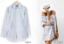 how to make a men shirt into an off the shoulder dress what to