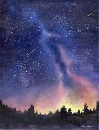 watercolor painting print starry sky print starry night painting print watercolor sky landscape painting painting prints watercolor and paintings
