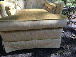 High Armchairs Pair High Back Yellow Striped Upholstered Armchairs Attainable