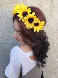 sunflower headband stunning headband with medium sized sunflowers flowers are