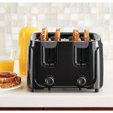 Sunbeam 4 Slice Toaster Review Mainstays 4 Slice Toaster Black Walmart Com
