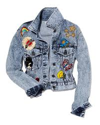 light blue cropped jean jacket alice olivia chloe cropped denim jacket with patches light blue
