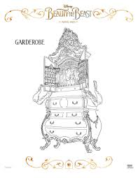 disney beauty and the beast garderobe coloring page disney