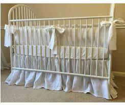 White Ruffle Crib Bedding Crib Bedding Set With Ruffled Bumper Gathered Crib Skirt White