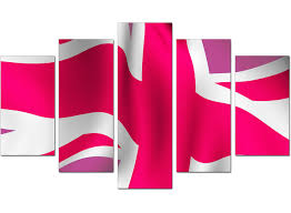 extra large union jack canvas pictures 5 piece in pink