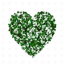 heart shaped clover leaves and flowers st patrick u0027s day