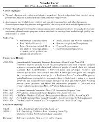 Work Experience In Resume Sample by Hospital Volunteer Resume Example Http Www Resumecareer Info