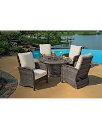Patio Furniture With Gas Fire Pit by Spring Into Savings On 5 Piece Portico Wicker Patio Chair And Cast