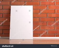 Laminate Brick Flooring Big White Poster Reflection On Red Stock Illustration 445463827