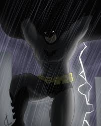 batman is falling while lighting goes off by dreatos on deviantart