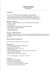 High Profile Resume Samples by Download Banquet Server Resume Example Haadyaooverbayresort Com
