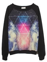 galaxy sweater black sleeve galaxy triangle print sweatshirt abaday com