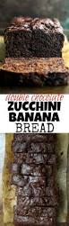 double chocolate zucchini banana bread running with spoons