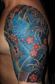 blue koi fish tattoo designs blue koi fish tattoo on shoulder for