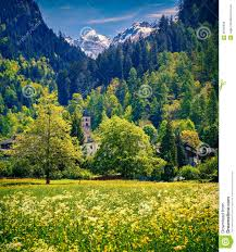 beautiful spring landscape with church stock photo image 46732550