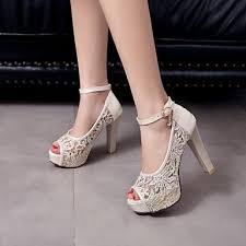wedding shoes thick heel women s wedding shoes heels peep toe platform comfort