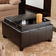 Tray Table For Ottoman by Mansfield Bonded Leather Espresso Tray Top Storage Ottoman By