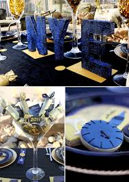 New Year S Eve Dinner Decorations by Midnight Blue Gold New Years Eve Party New Years Pinterest