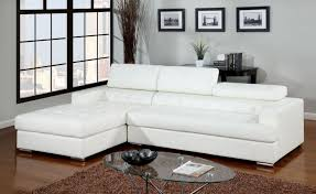 bonded leather sectional sofa furniture of america cm6122wh floria contemporary white bonded