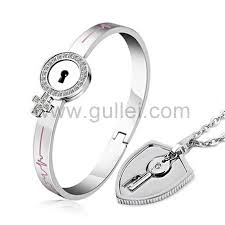 engraveable gifts engravable lock key bracelet necklace couples gift set