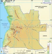 angola physical map map of angola