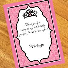 royal princess 1st birthday personalized thank you notes