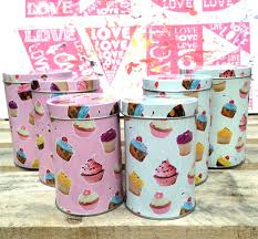 pink kitchen canister set set of 3 small cupcake canisters retro kitchen food storage tea