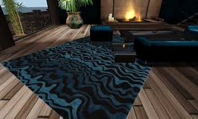 Blue Contemporary Rugs Second Life Marketplace Blue And Black Contemporary Rug