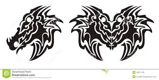 the symbolic dragon tattoos tribal dragon head symbol and dragon butterfly tattoo stock vector