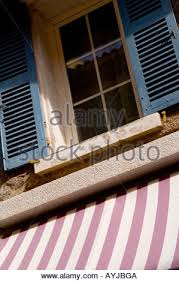 St Tropez Awning French House With Pink Awning Saint Tropez French Riviera Stock