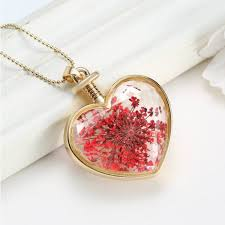 glass flower necklace images Gold plated glass bottle heart dry flower pendant necklace for jpg