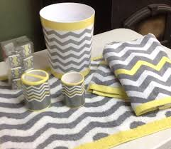 Gray And Yellow Bathroom by 18 Pc Chevron Light Yellow Gray White Bathroom Set Bath Towel Rug