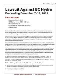 Lawsuit by Lawsuit Against Bc Hydro In Court Dec 7 To 11 2015 Coalition To
