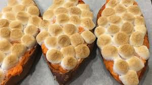 baked sweet potatoes with browned butter and toasted