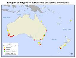 Oceania Blank Map by Coastal Eutrophic And Hypoxic Areas Of Australia And Oceania