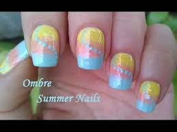 pastel ombre nail art for summer by using sponge diy colorful