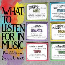 what to listen for in music bulletin board set by cori bloom tpt