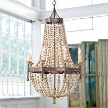 bead chandelier scalloped wood bead chandelier frontgate
