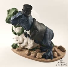 realistic t rex dinosaur wedding cake topper