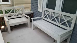 bench white wooden bench outdoor ana white modern slat top