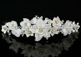 handmade tiaras bridal wedding handmade ivory flower fabric crystals tiara ct1336