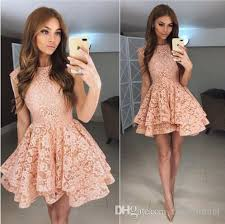 2018 new arrival short lace homecoming dress with tiered skirt