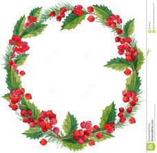 watercolor winter christmas wreath with mistletoe berries and