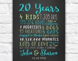 20th anniversary gift ideas for 20th anniversary etsy