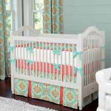 Pink And Gold Nursery Bedding Decorated Aqua Crib Bedding Home Inspirations Design