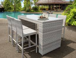 Patio Bar Table Set New Haven Bar Table Set Features 7 Piece Of Modern Outdoor Wicker