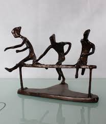 cast iron metal bronze sculpture for home decoration the swimming