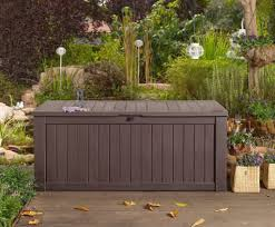 keter brightwood resin 120 gallon outdoor storage deck box