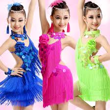 2017 sequin fringe dress dance latin competition costumes for
